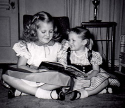 Sheryl reading to younger sister Connie